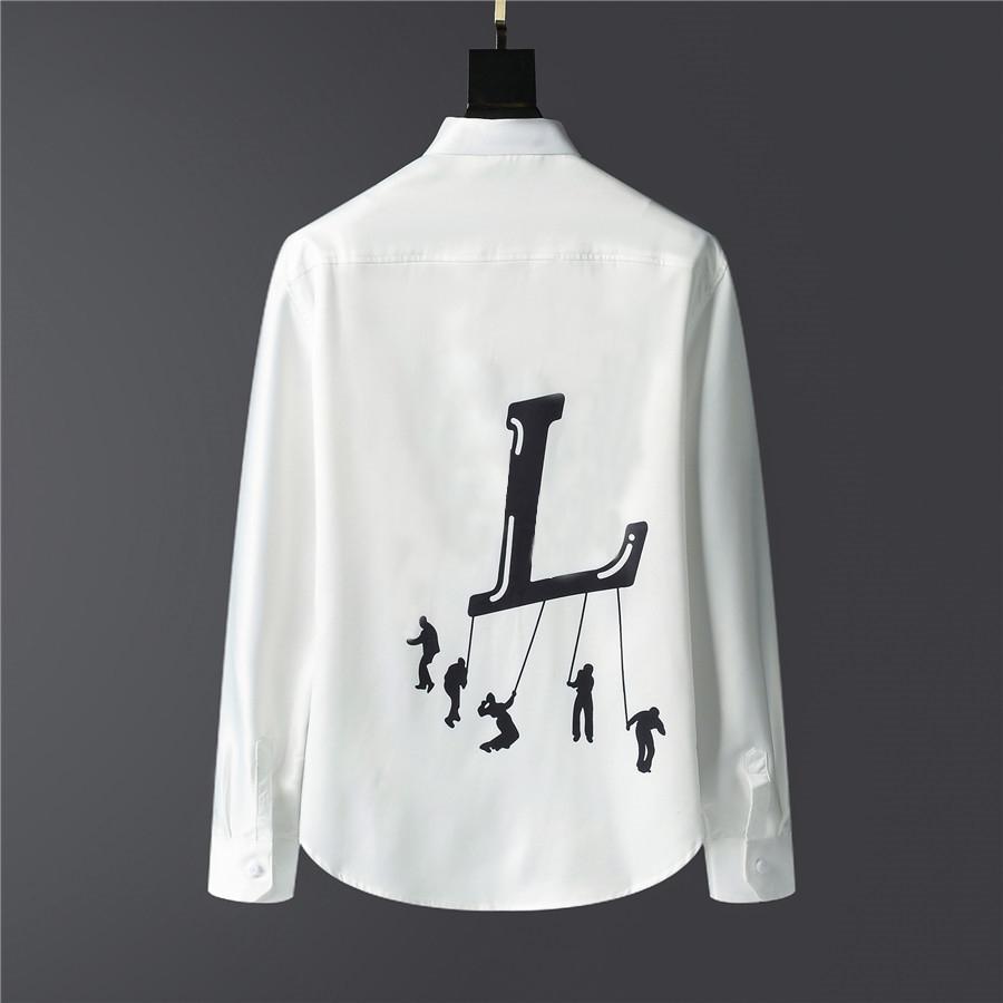 2021 designer luxury mens dress casual print shirts for men long sleeve cotton paris slim fit womens shirt#L254V