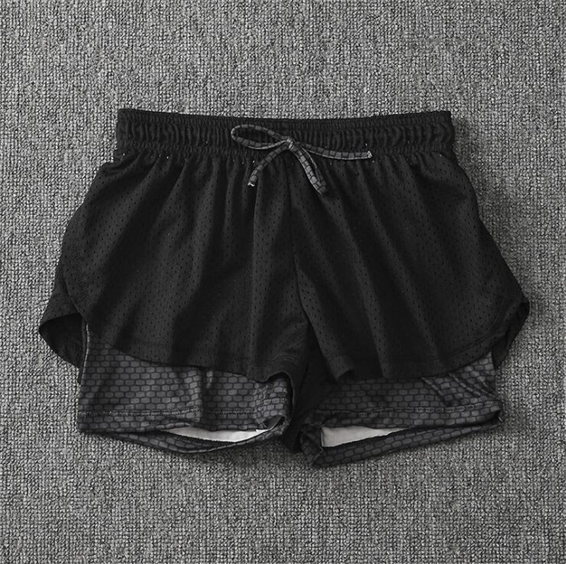 Summer Women Cotton Mesh Short Pants Work-out Two Layer Fitness Fold Short Pants Cool Wear Drawstring Clothing (26)