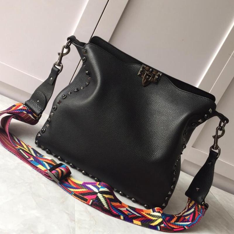 Top Quality Women Handbags Purse Lichee Real Leather Stud Handbag lady Crossbody Shoulder Bag Rivet Tote Bag Classic Hasp Euramerican Style