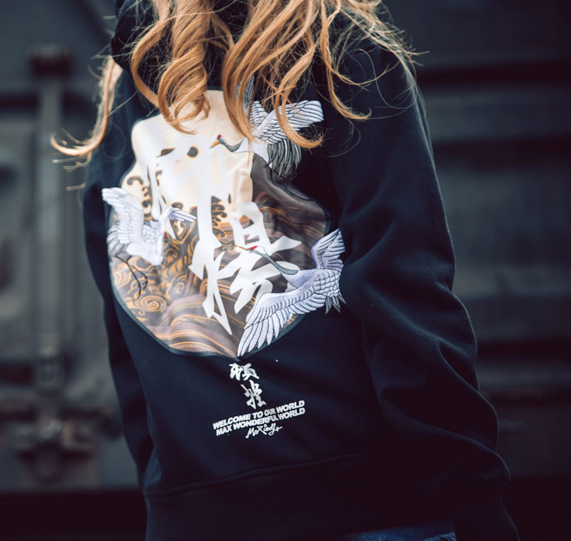 Embroidery Japanese Cranes Pullover Fleece Hoodies 3