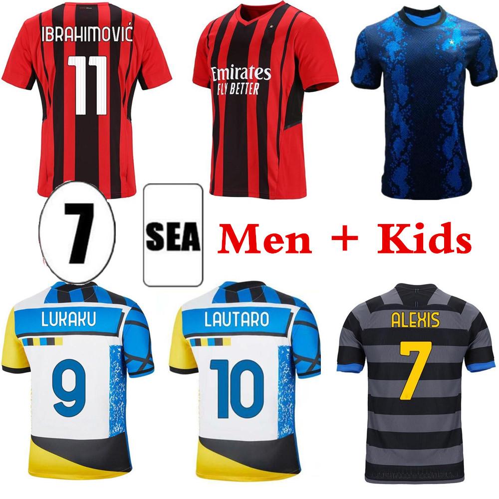 21 22 milan IBRAHIMOVIC THEO MANDZUKIC AC soccer jersey 2021 2022 fourth 4th football inter shirt set LUKAKU LAUTARO ERIKSEN TONALI BRAHIM men + kids kit