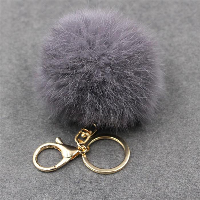 8CM ffy Pompom Real Rabbit Fur Ball Key Chain Women Trinket Pompon Hare Fur Toy keyring Bag Charms Ring Keychain Wedding Gift (15)
