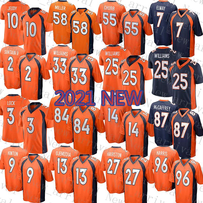 2021 New Denver Mens Bronco American Football Jersey 25 Javonte Williams 2 Patrick Surtain II 33 Javonte Williams 10 Jerry Jeudy 55 Bradley Chubb 7 John Elway 3 Lock