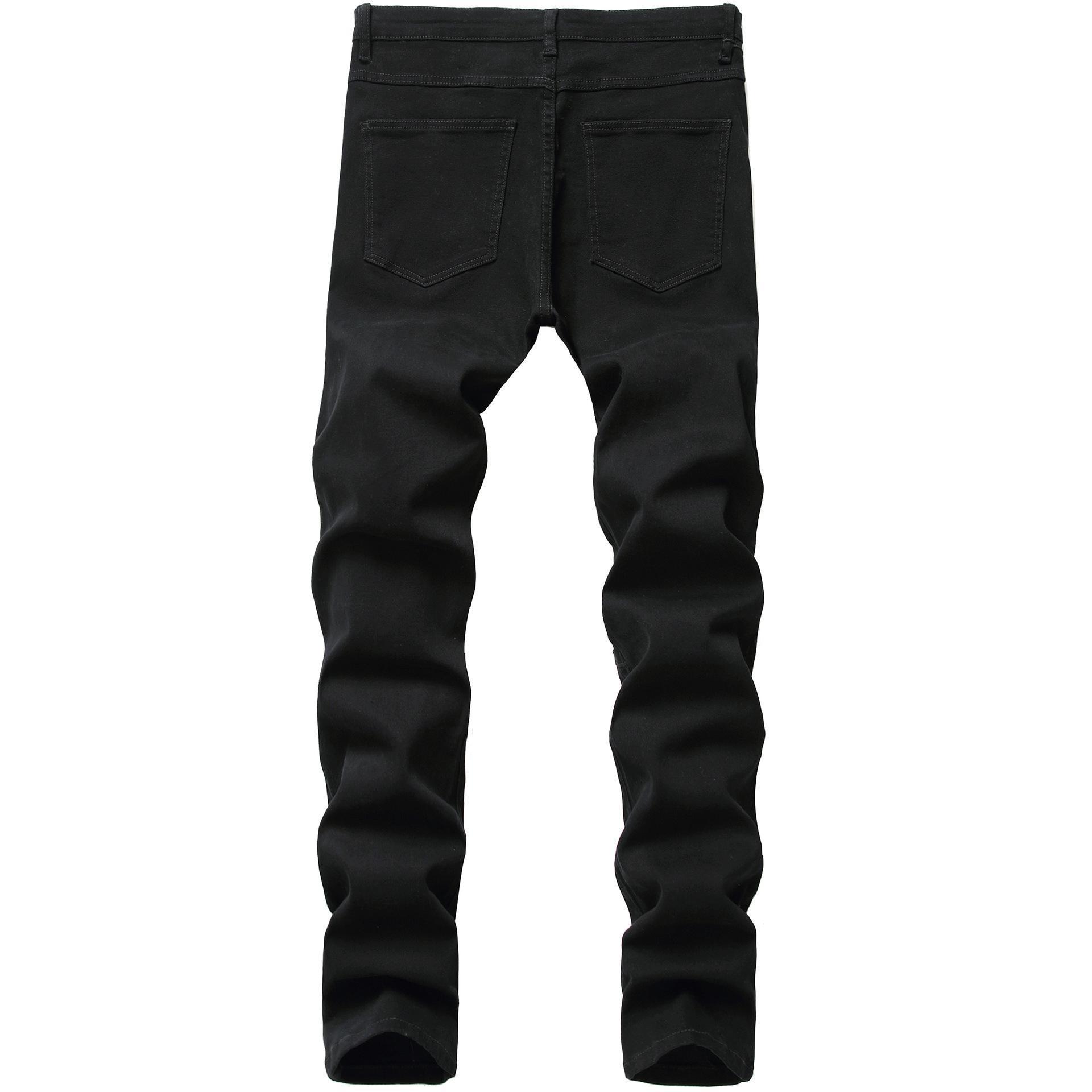 Mens Black Jeans Fashion Ripped Denim Pants Skinny Pencil Jeans Pants Holes Broken Biker Jeans Plain Solid Pants