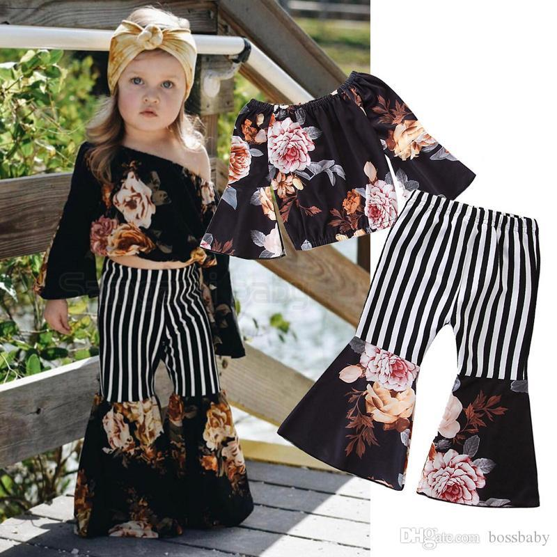Baby Girl Floral Suit Toddler Girl Off Shoulder Ruffle Sleeve Trumpet Sleeve Tops Elastic Stripe Little Floral Stitched Flare Pants 1-7T