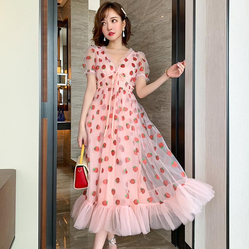 Runway Rhinestone Diamonds Strawberry Pink Mesh Maxi Dress Women Short Puff Sleeve Sexy V-neck Lace-up Bow Tunic Lolita Dress (21)