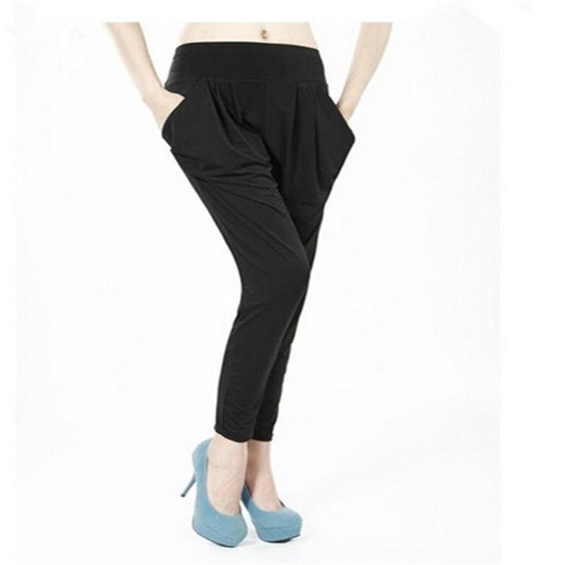 Summer Style Casual Women Pants Elastic Waist Regular Harem Spring And Tencel Capris Large Size 210527