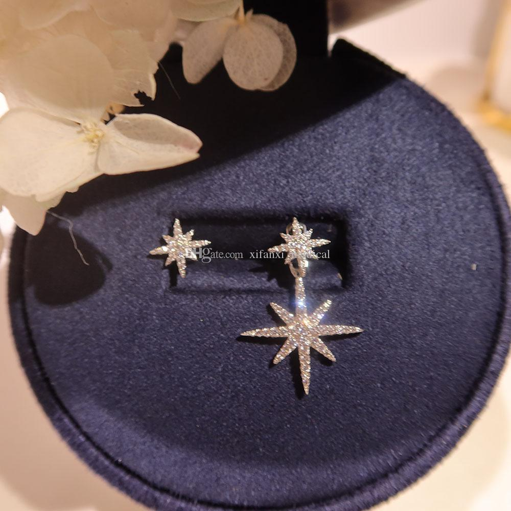High end luxury Star & mang Earrings S925 Sterling Silver anti allergy lady Star Stud asymmetric left and right shiny