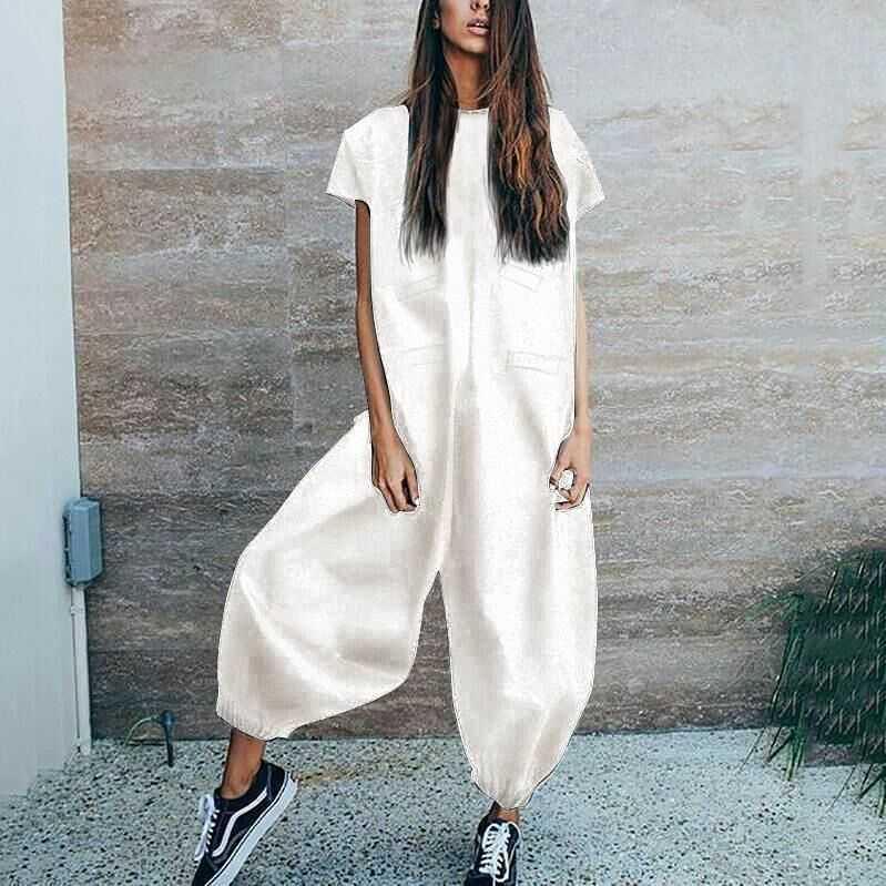White-Black-Jumpsuit-Elegant-for-Women-2019-Boot-Cut-Pants-Short-Sleeve-Vest-Conjoined-Famale-Trousers