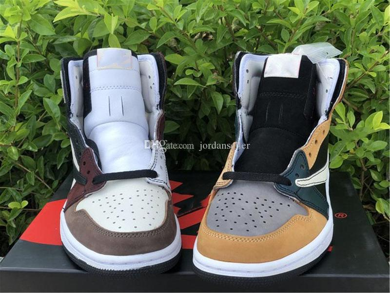 Genuine Jumpman 1 Men's Barb Basketball Shoes Yin and Yang Color Matching Sports Shoelaces Shoebox Full Size 36--46