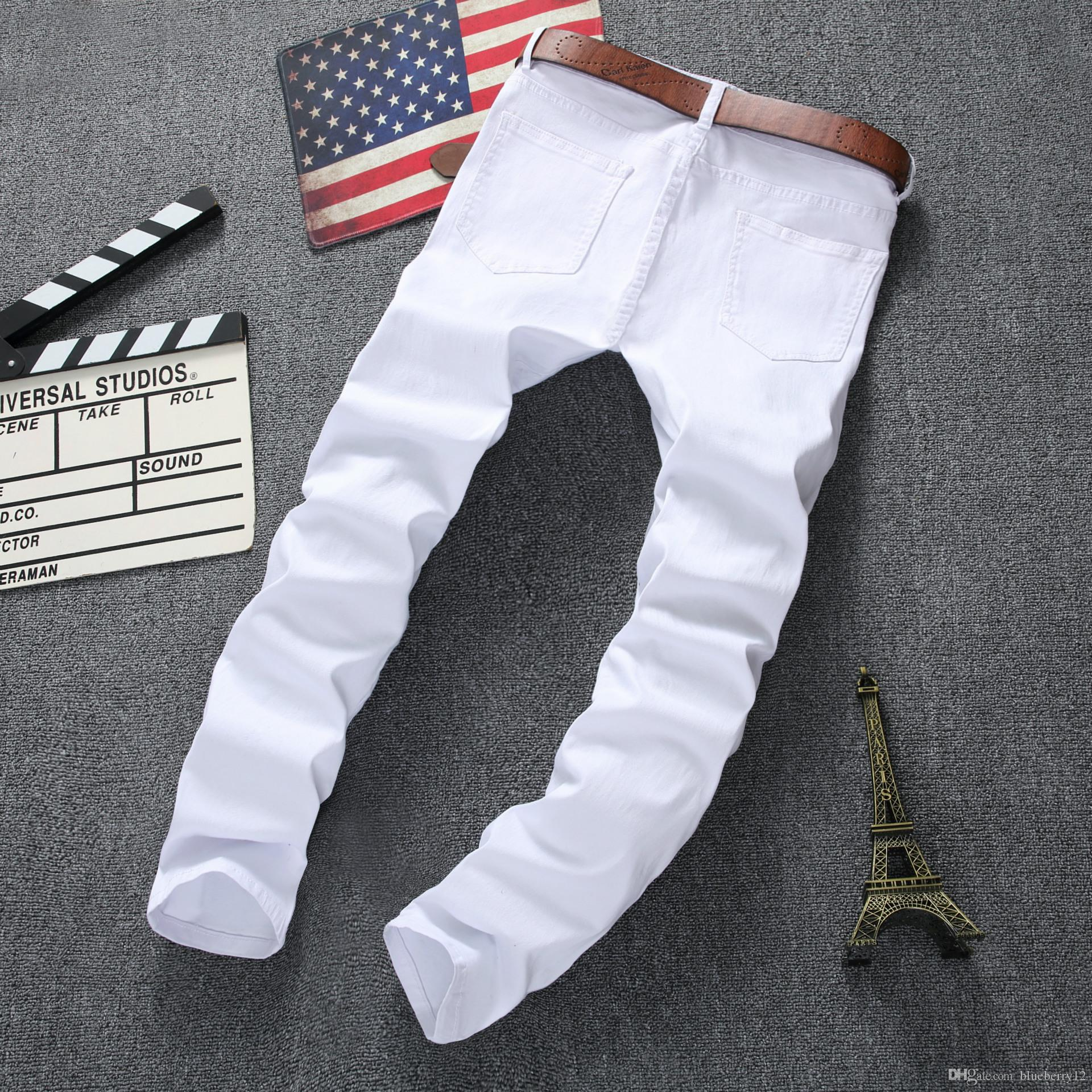 Fashion Mens Straight Slim Fit Biker Jeans Pants Distressed Skinny Ripped Destroyed Denim Jeans Washed Hiphop Trousers Black