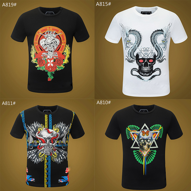 Skull mens T-shirt high quality Summer Basic Solid crystal print letter Casual Punk tops Tee Black white women Shirts clothing short sleeve