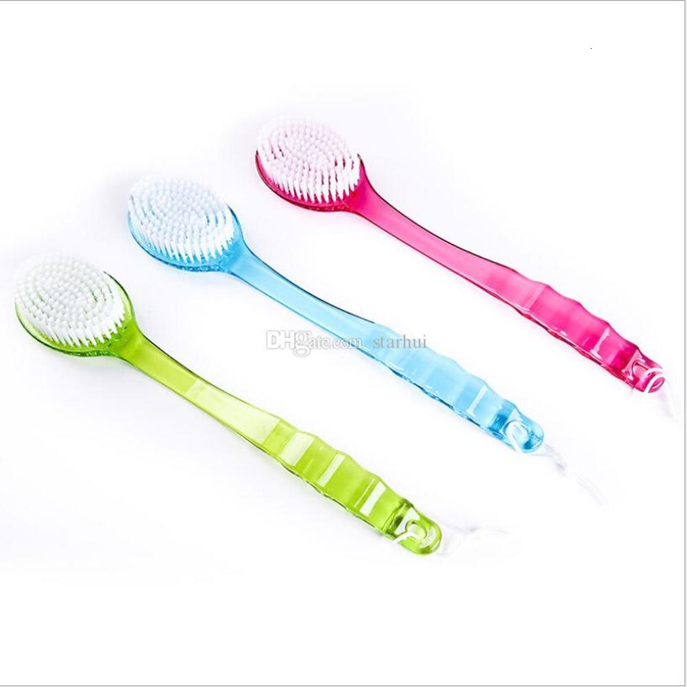 Newest Bath Brush Long Handle Sponge Body Brush Massager Bath Shower Back Spa Scrubber Soft Bath Brushes Red Blue Green WX-T04
