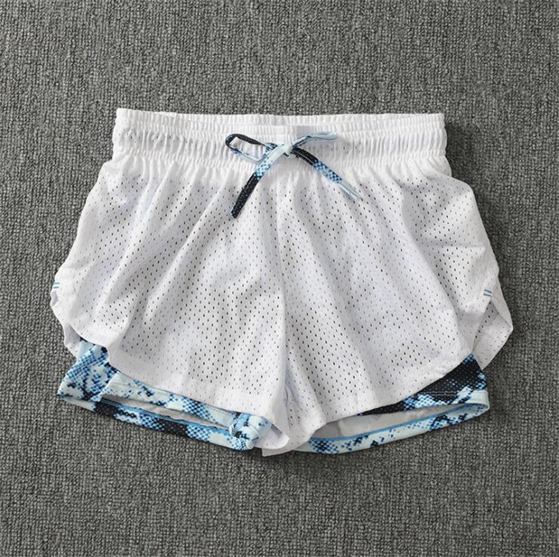 Summer Women Cotton Mesh Short Pants Work-out Two Layer Fitness Fold Short Pants Cool Wear Drawstring Clothing (29)