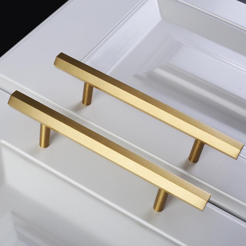 2.5'' 3.75'' 5'' Brushed Brass Hexagon Dresser Pull Knob Handles Kitchen Cabinet Handle Drawer Knob Pull Door Handles Furniture