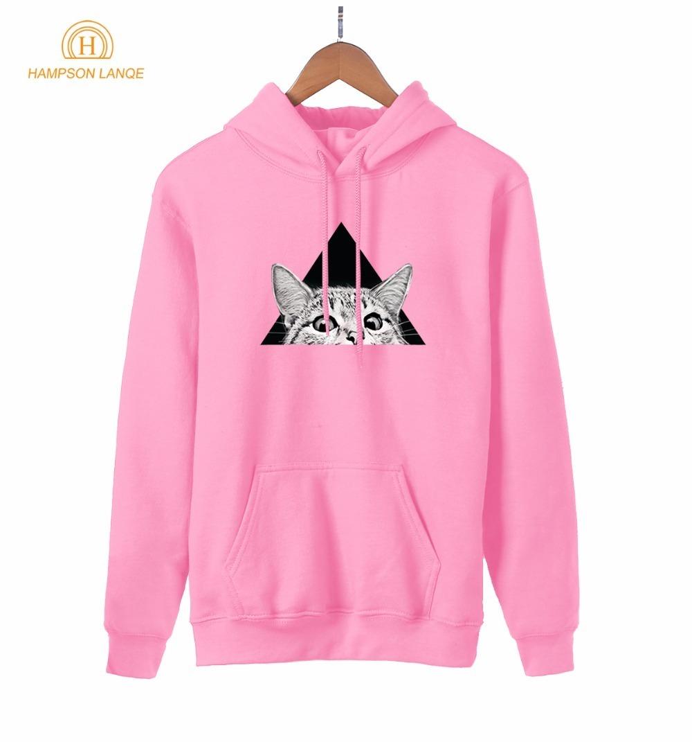 HAMPSON LANQE Funny Cat Print Anime Hoodie For Girls 2019 Spring Autumn Kawaii Sweatshirts Women