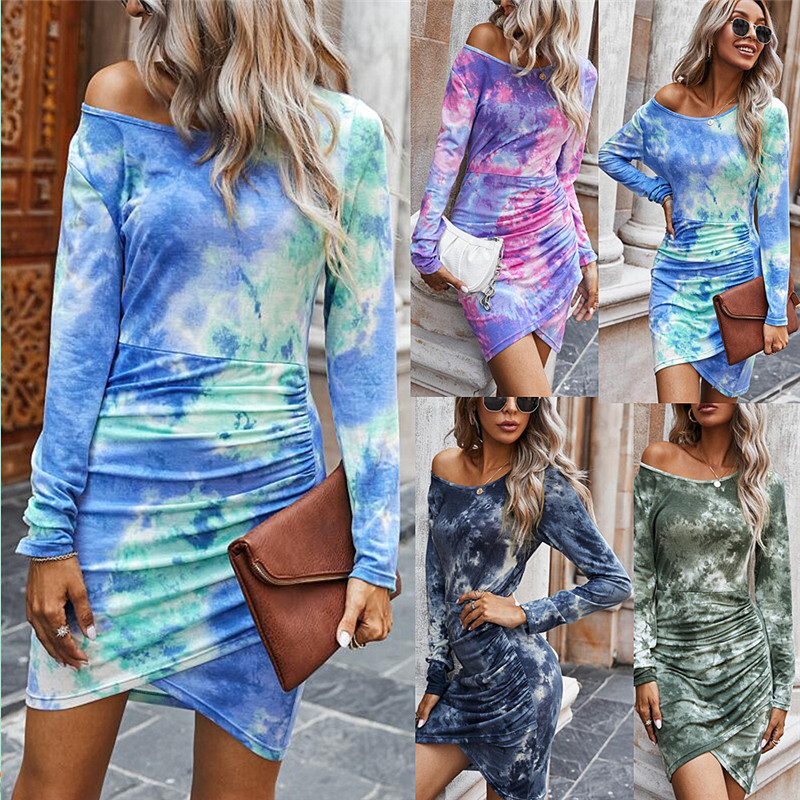Tie Dye Autumn Womens Dress Long Sleeve Crew Neck Sexy Stacked Dresses Fashion Casual Women Clothing vestido