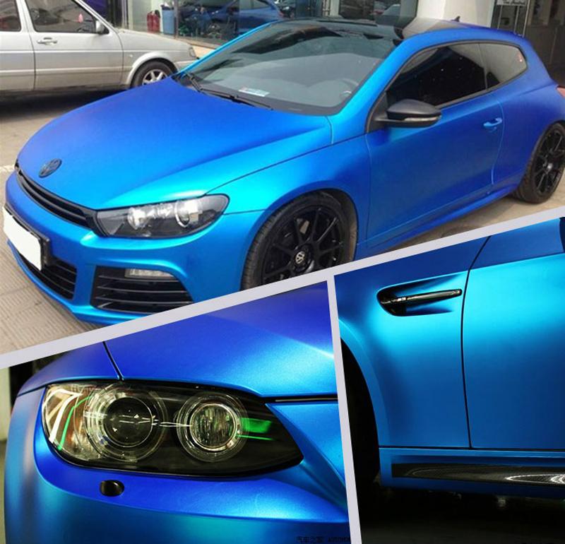 Blue Metallic Chrome Vinyl Car Wrap-2