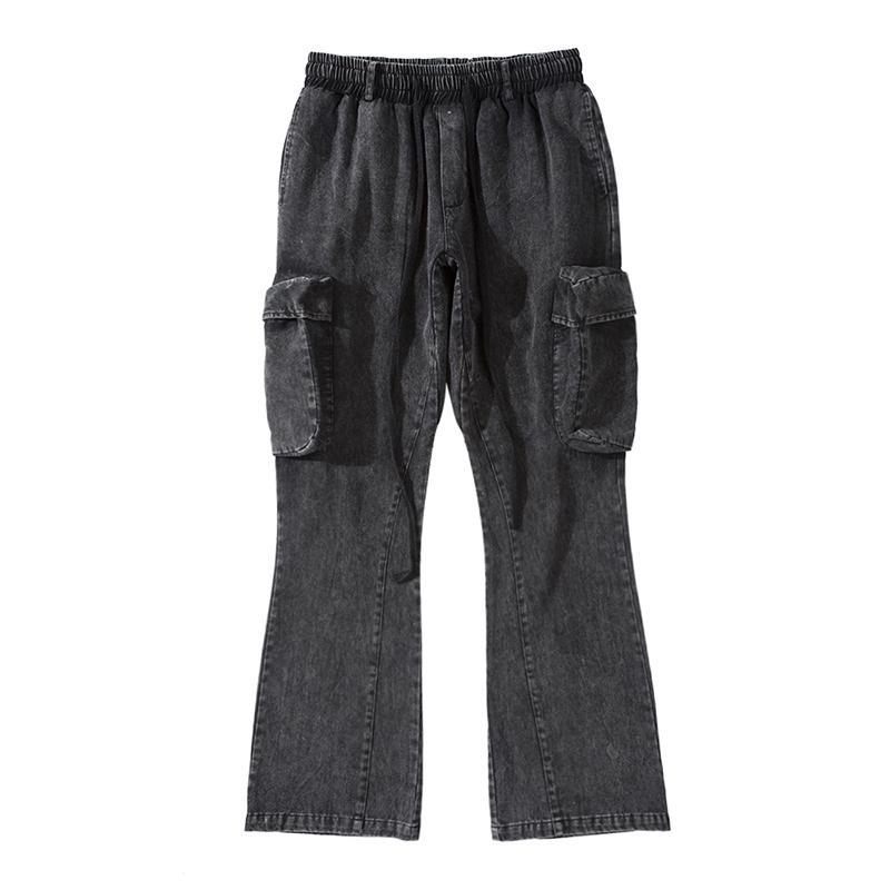 Side Pockets Streetwear Flare Pants Mens Drawstring Straight Washed Baggy Cargo Pants Hip Hop Loose Casual Trousers