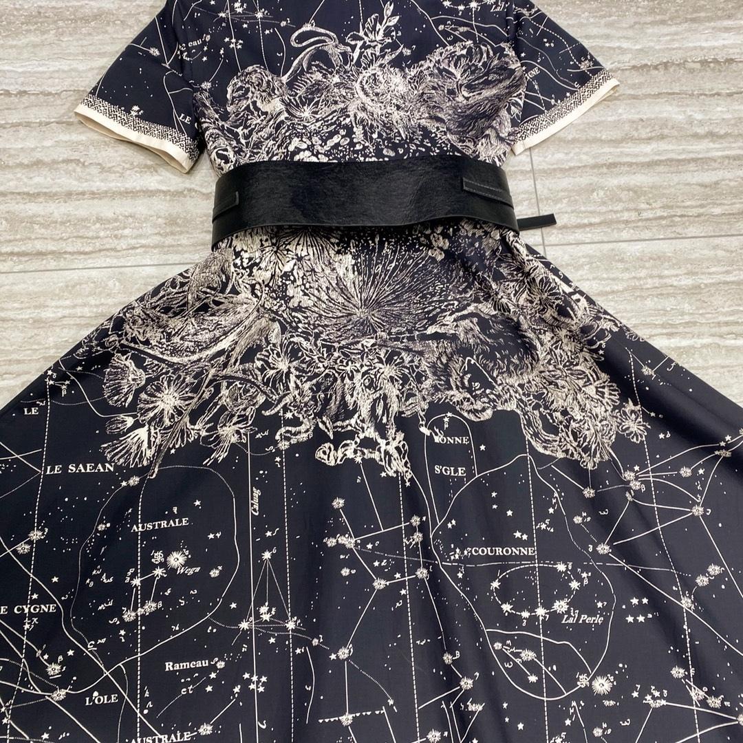 Milan Runway Dress High End Black Stars Moon Print Long Women Dress 100% Cotton Short Sleeves Belt Dresses Womens 202113