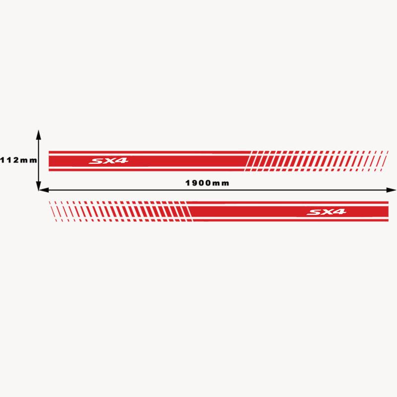 2Pcs Stylish Car Side Body Sticker Vinyl Body Decal Side Sticker Stripes Stickers for Suzuki Sx4 (5)