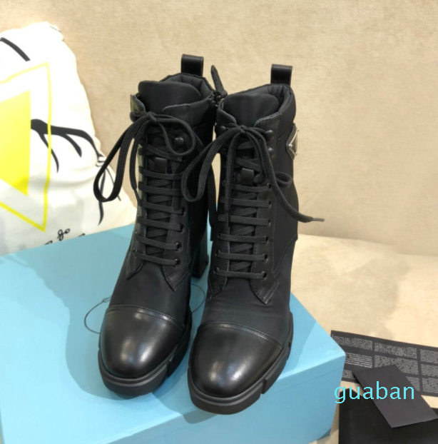 2021 New Designer Leather and nylon fabric booties Women Ankle Boots Leather Biker Boots Australia Booties Winter boots 3687