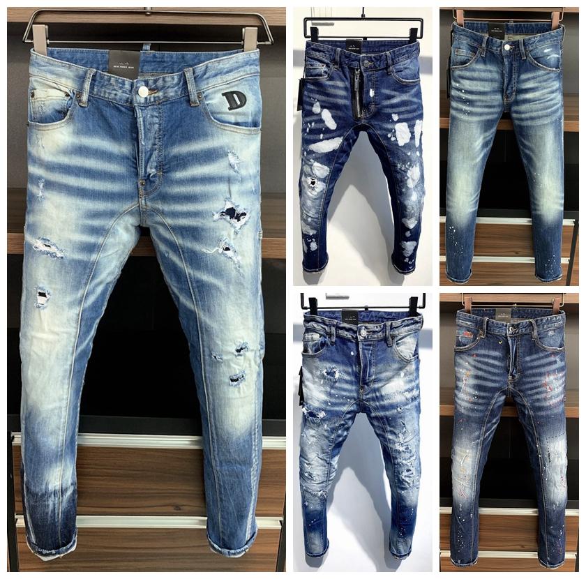 latest listing skinny jeans for men ripped holes jeans Motorcycle Biker Denim pants Men Brand fashion Designer Hip Hop Mens Jeans 44-54