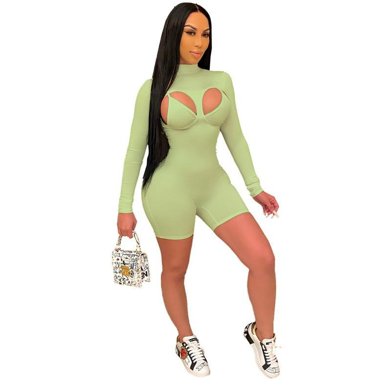 womens one piece shorts long sleeve jumpsuits overalls rompers sexy bra playsuit fashion comfortable clubwear elegant jumpsuit klw0802