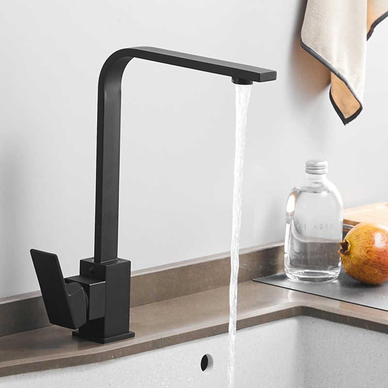 quyanre wanfan gappo Kitchen Faucets Brass Kitchen Sink Water Faucet 360 Rotate Swivel Faucet Mixer Single Holder Single Hole Black Mixer Tap2