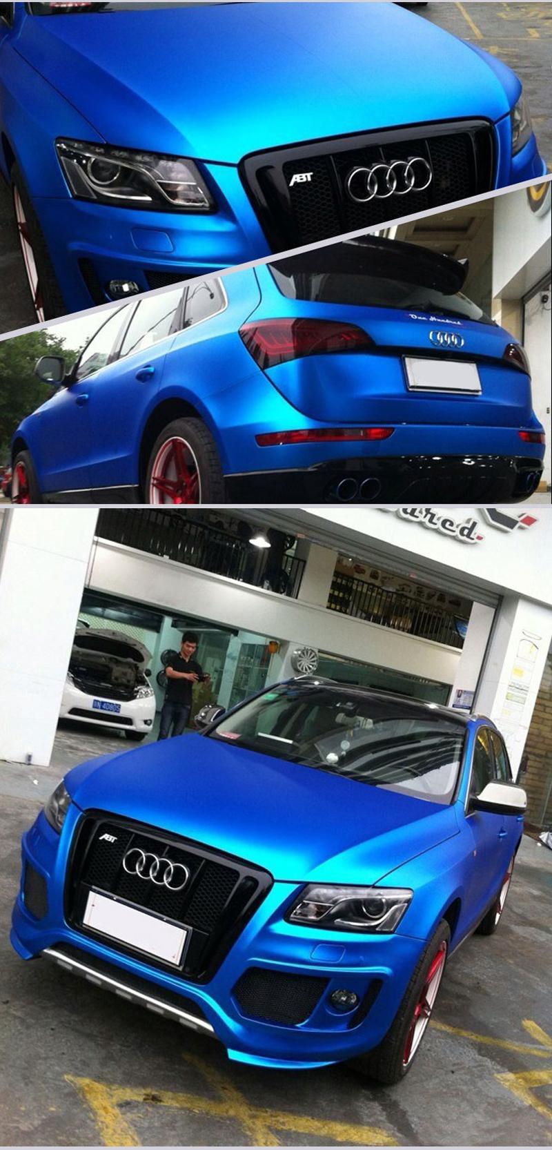 Blue Metallic Chrome Vinyl Car Wrap-3