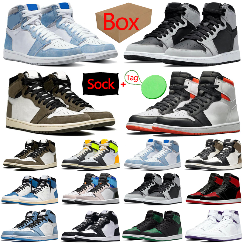 Box&Sock&Tag 1 1s mens womens basketball shoes Pollen University Blue Prototype Fragment Hyper Royal Bred Patent men trainers sports sneakers discount