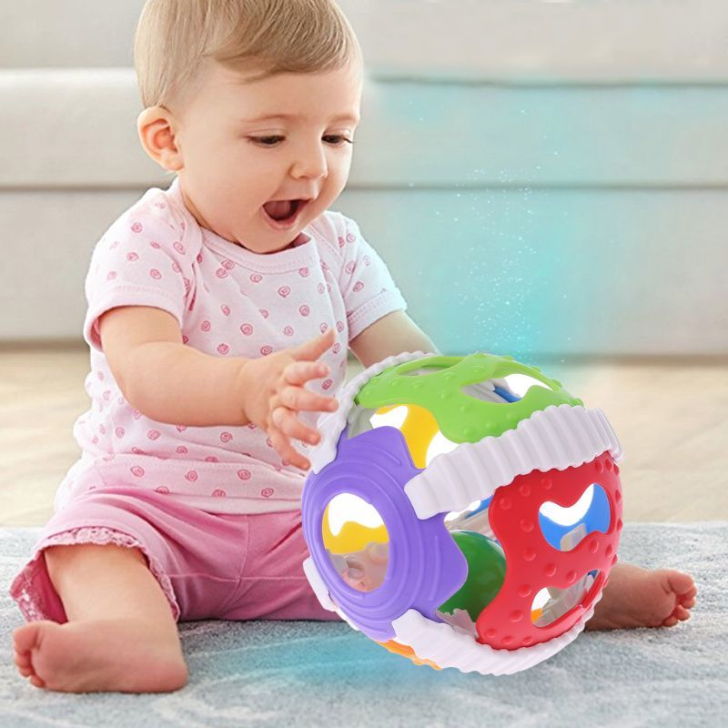 Baby Hand Bell Toy Rattles Sway Sound Grasp Ball Finger Activity Educational Toy 19QF