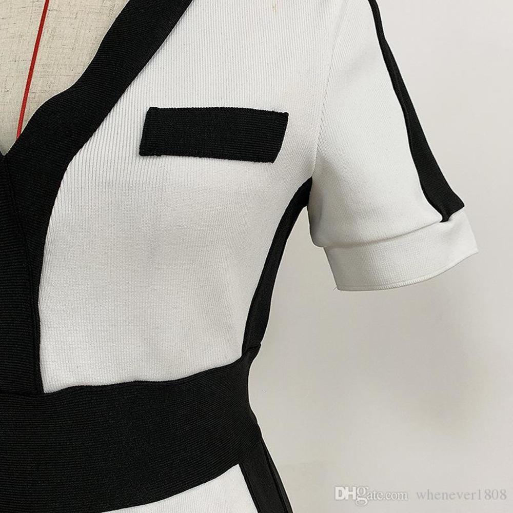 High Quality Sexy Runway Dresses Colors Patchwork V Neck Short Sleeve Slim Bodycon Women Skinny Dress P789