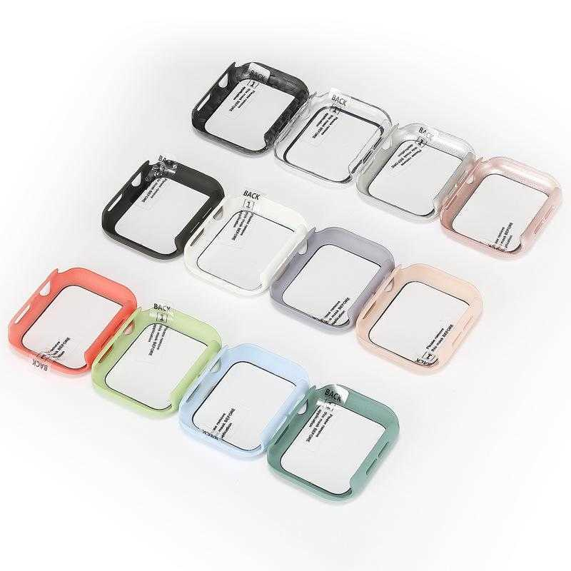 360 Full Screen Protector cases iWatch 38mm 42 mm 40mm 44mm Bumper Frame PC Hard Case With Tempered Glass Film For Watch 5/4/3/2/1 Cover