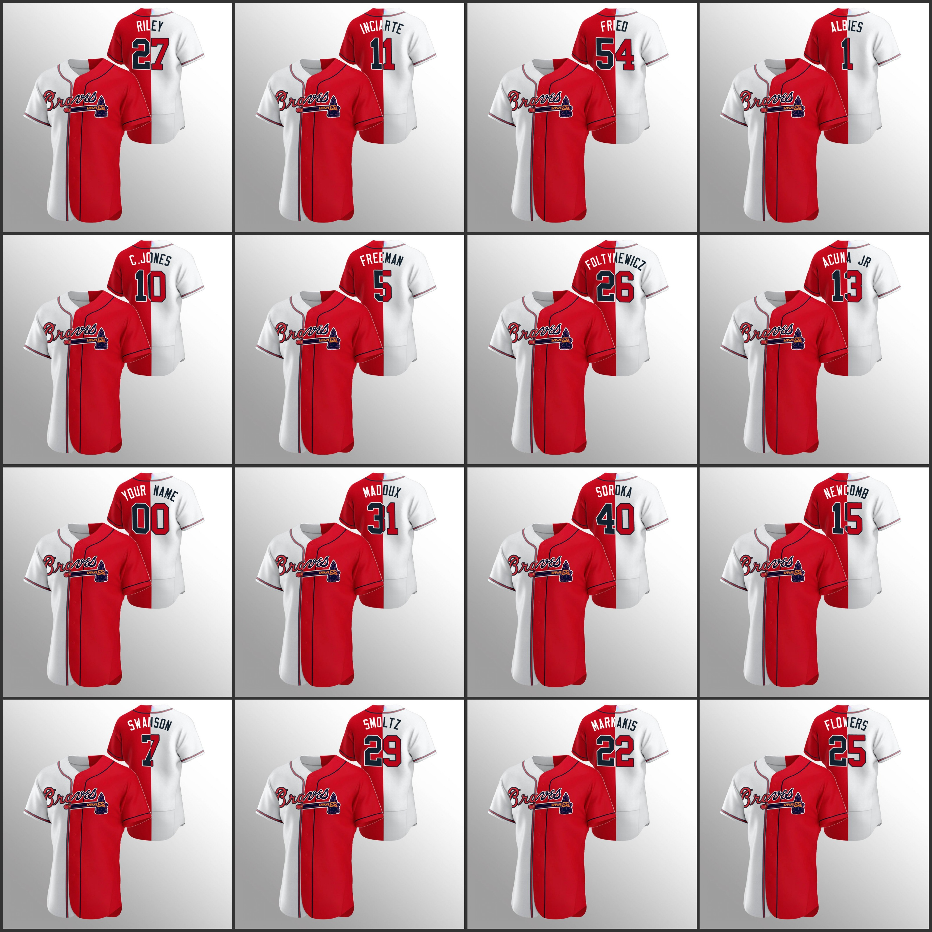 "Atlanta""Braves Men #27 Austin Riley 13 Ronald Acuna Jr. 5 Freddie Freeman 10 Chipper Jones Women Youth Custom White Red Color Split Jersey"