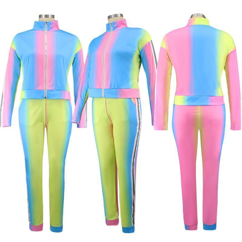 Women Plus size Sweatsuit casual set long sleeve jacket+leggings designer Outfits fall winter clothing gardient jogger suit 3918