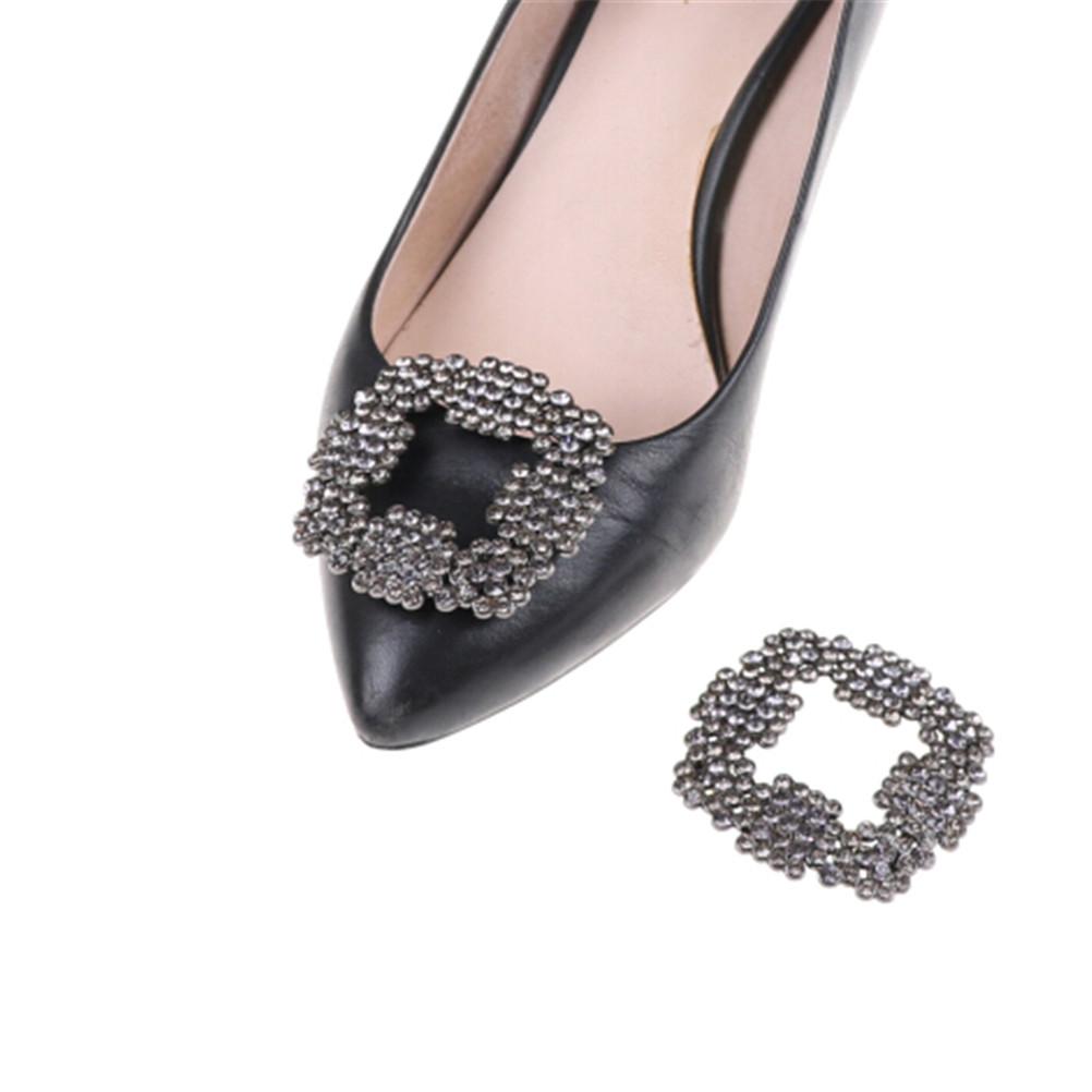 1 Pcs Women Crystal Shoe Clip Shoe Rhinestone Charm Metal Shoe Square Clamp Bridal Shoes Rhinestone Decoration Accessories