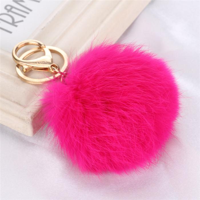 8CM ffy Pompom Real Rabbit Fur Ball Key Chain Women Trinket Pompon Hare Fur Toy keyring Bag Charms Ring Keychain Wedding Gift (3)