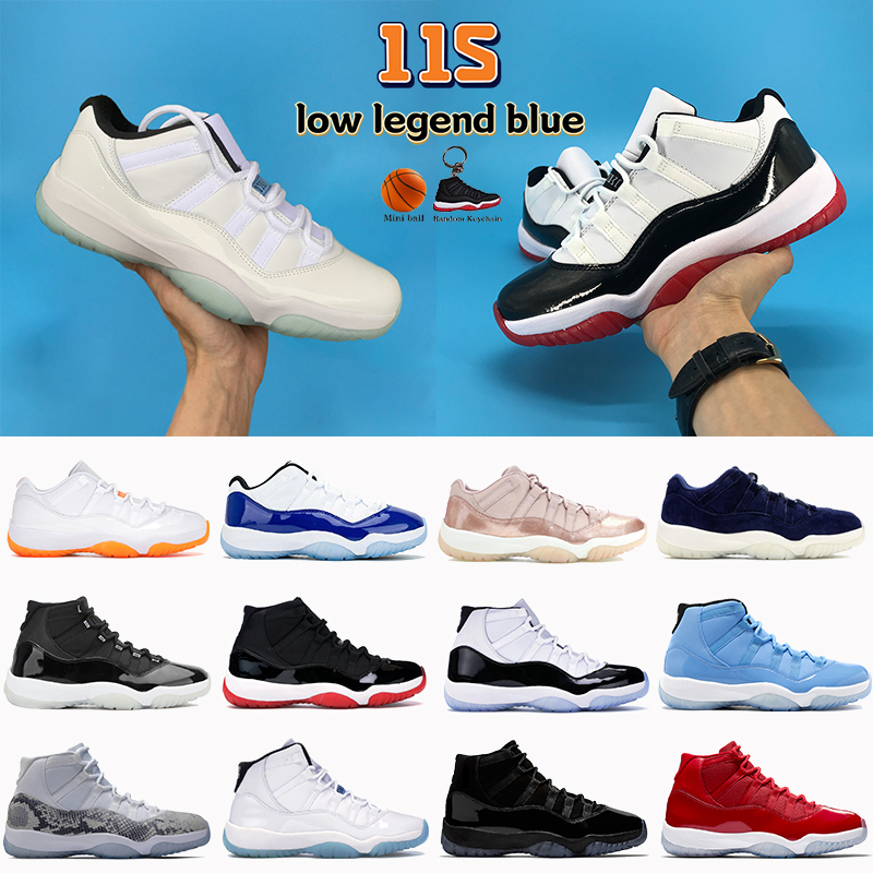 Newest 11 11s men Basketball Shoes 25th Anniversary low legend blue citrus white bred concord pantone Heiress Black cap and gown women sneakers