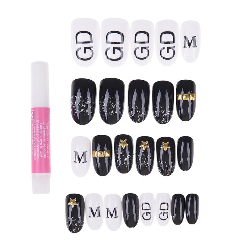 24pcs Acrylic Pre Design Nail Tips Black White Alphabet 3D Fake Nails Kids False Nails With Glue Sticker