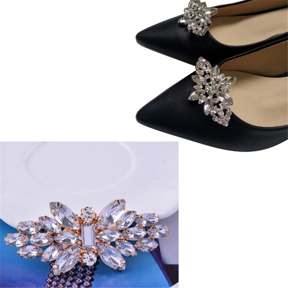 1Pcs New Crystal Shoes Buckle Women Shoes Decoration Clips Bridal Charm Decor Fashion Shoe Accessories