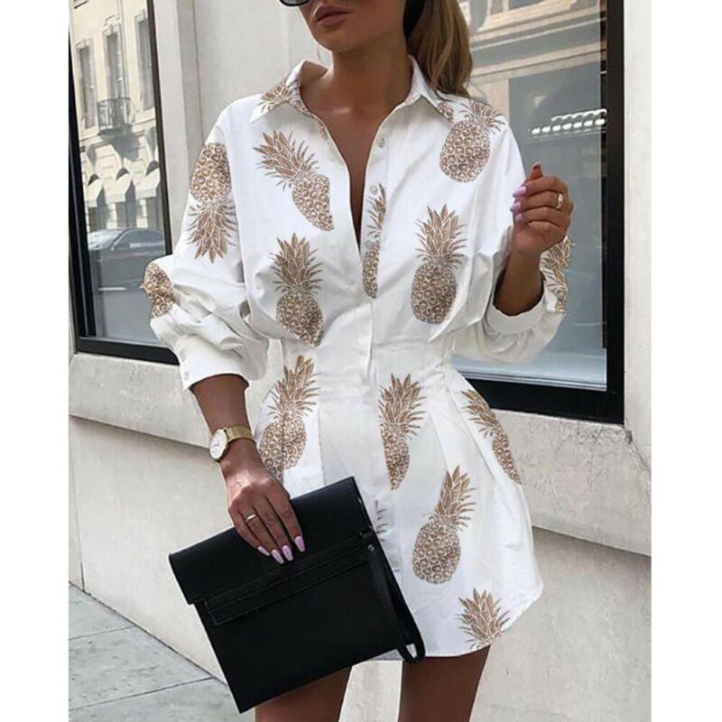 _2019_New_Arrival_Women_V_Neck_Long_Sleeve_Blouse_High_Waist_Printed_Dresses_Puff_Sleeve_Casual (2)