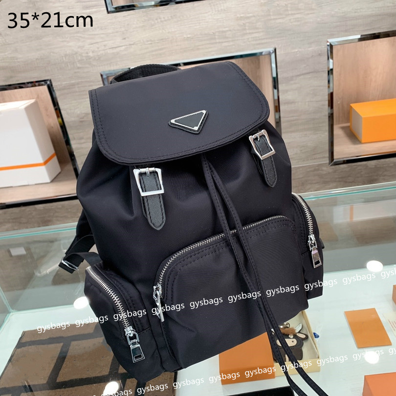 2021 Designers Students School Bags Luxury Mens Backpakcs Large Capacity Nylon Solid Black with Triangle Fashion Outdoor Mountaineering BackPacks High Quality