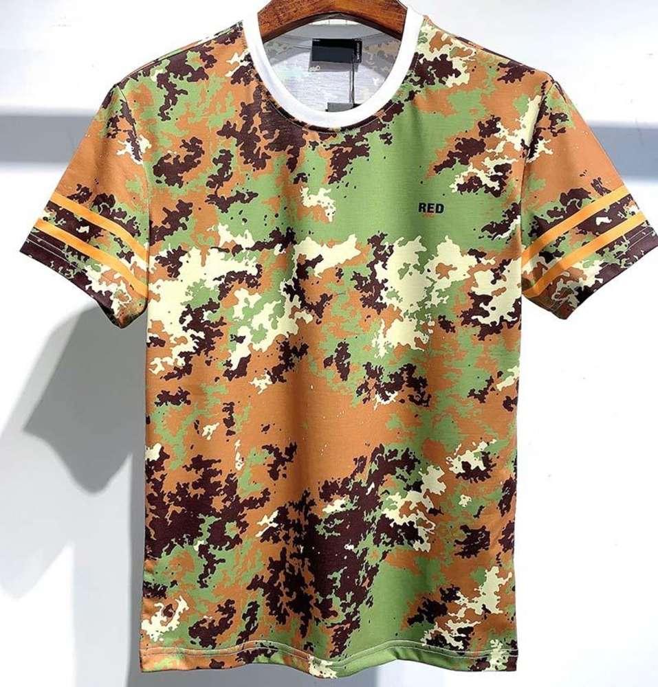 2021 hip hop Europe High quality Camo Green Tshirt Fashion Men T Shirt Women fashion Cotton Tee