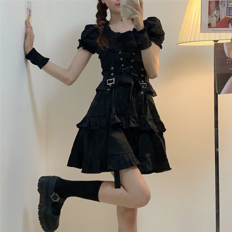 QWEEK Women's Gothic Lolita Dress Goth Punk Gothic Harajuku Mall Goth Style Bandage Black Dress Puff Sleeve Dress Emo Clothes 210224