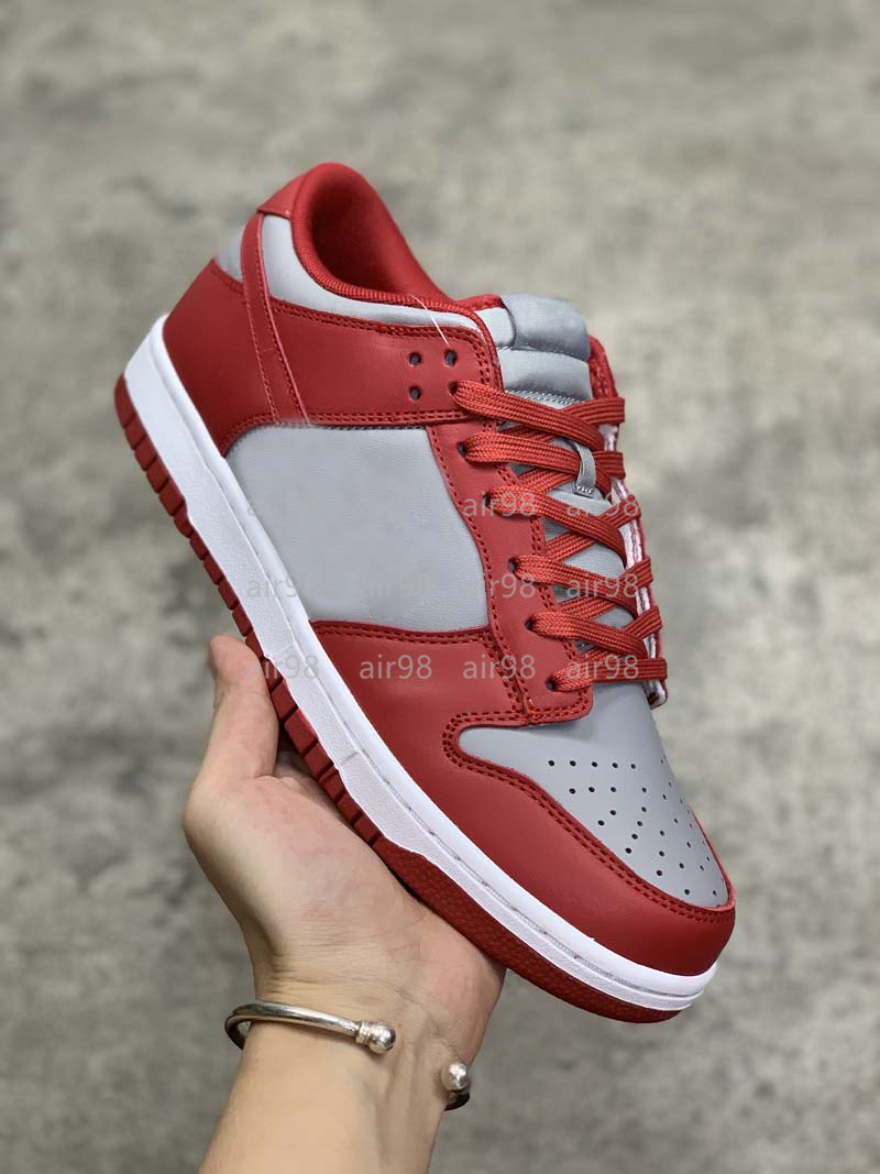 Varsity Red UNLV Dunks Shoes Medium Grey Leather DuckSB Designer Sneakers Sports Running Trainer with Box