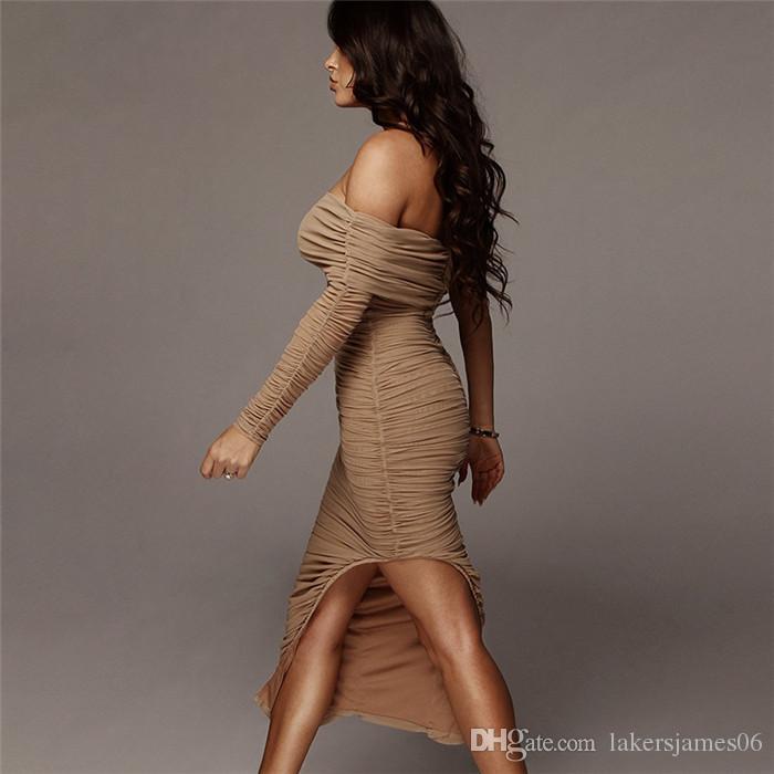 Womens Summer Designer Sexy Dress Fashion Mesh Single Sleeve Slit Shoulder Split Dress