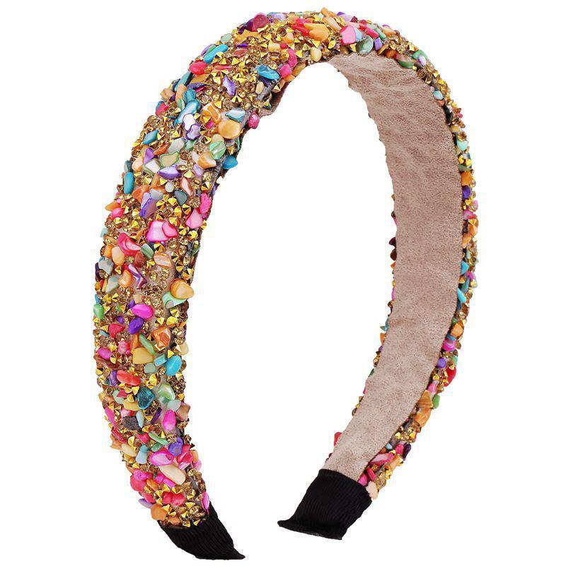 Retro Hair Hoop Natural Healing Crystal Stone Headband Sponge Leopard Print Woman Fashion Hair Band Accessories 7 6dx K2B