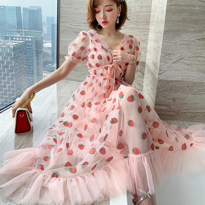 Runway Rhinestone Diamonds Strawberry Pink Mesh Maxi Dress Women Short Puff Sleeve Sexy V-neck Lace-up Bow Tunic Lolita Dress (27)