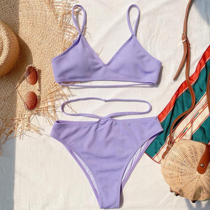high quality Sexy women bikini set two pieces swimsuit Ruffle Leopard Print Beachwear Bandage Cross Push Up Swimwear style three